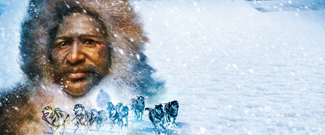 illustration of an explorer in the snow with a pack of snow dogs